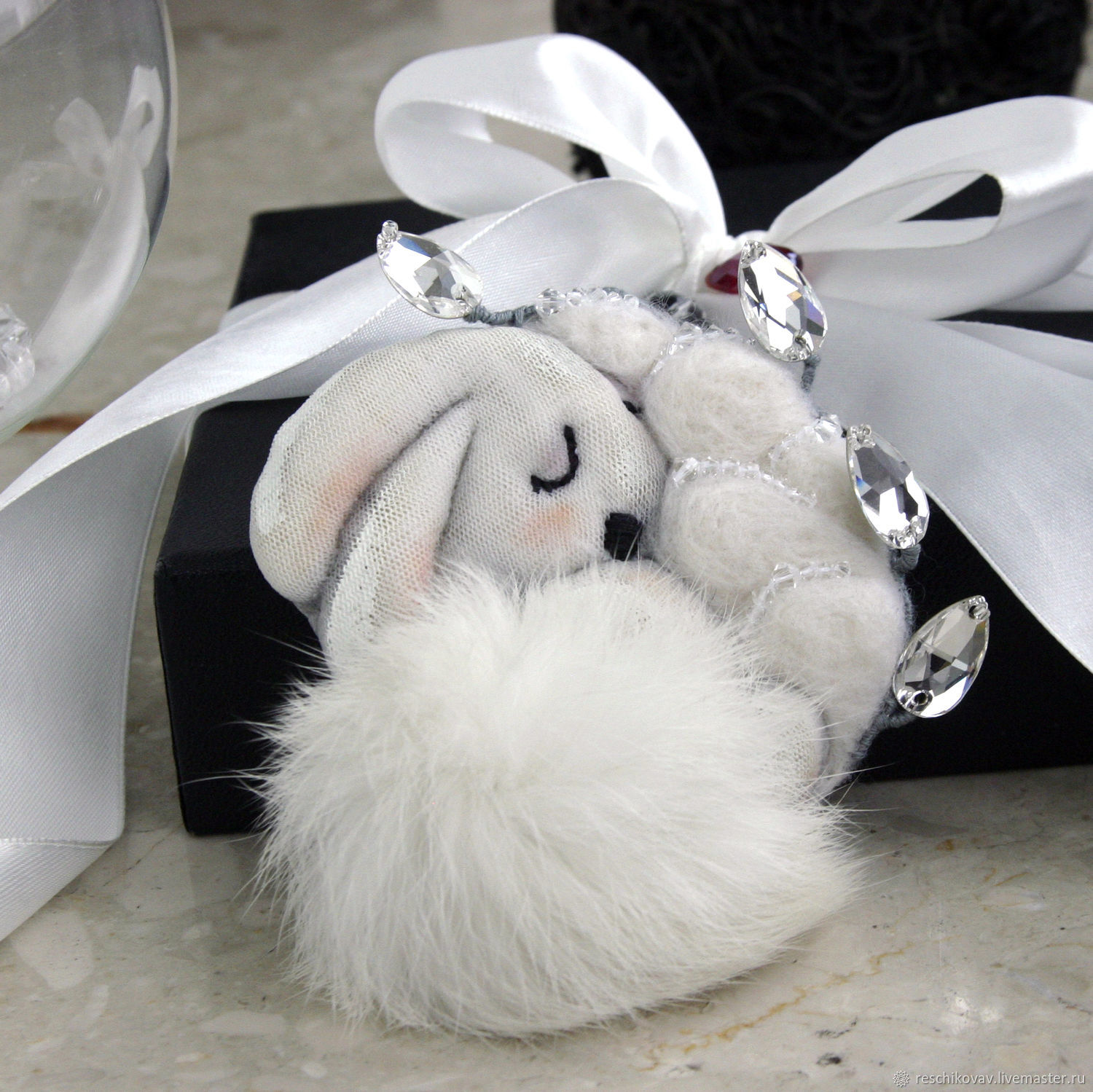 Bunny brooch sleeping with icy leaves, Brooches, Moscow,  Фото №1