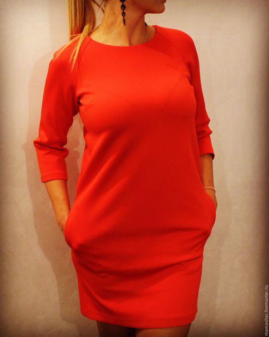 Платья ручной работы. Ярмарка Мастеров - ручная работа. Купить Платье ярко-красного цвета.. Handmade. Ярко-красный, неопрен