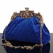 Сумки и аксессуары handmade. Livemaster - original item Velvet bag, Royal blue. Handmade.