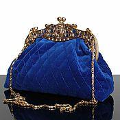 Сумки и аксессуары handmade. Livemaster - original item Velvet bag, Royal blue, brooch, evening bag. Handmade.