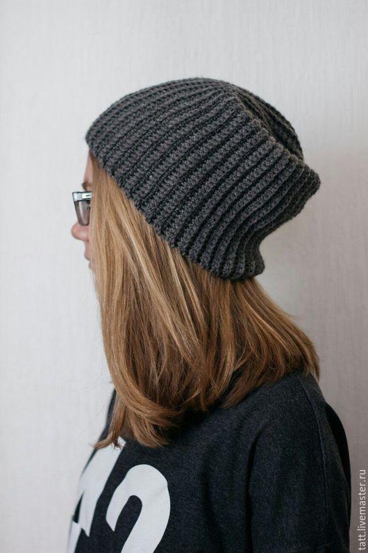 Шапки ручной работы. Ярмарка Мастеров - ручная работа. Купить Ультра-модная шапка Бини крючком. Handmade. Темно-серый
