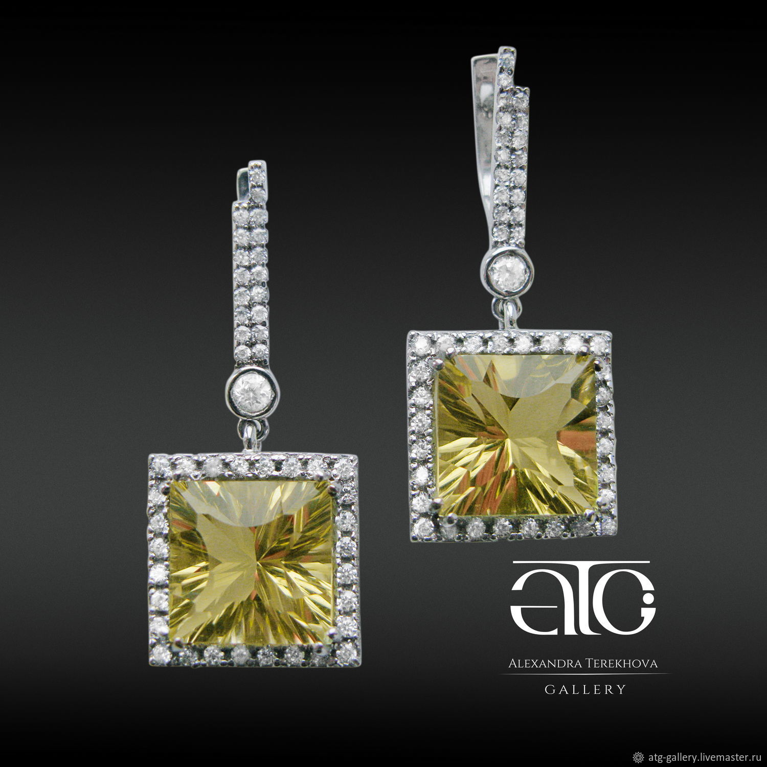 Luxurious gold earrings with large citrine 16.20 Ct author's cut!