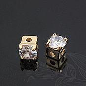 Материалы для творчества handmade. Livemaster - original item Sterling silver beads 4 mm art. 3-52, gold plated with zircon. Handmade.
