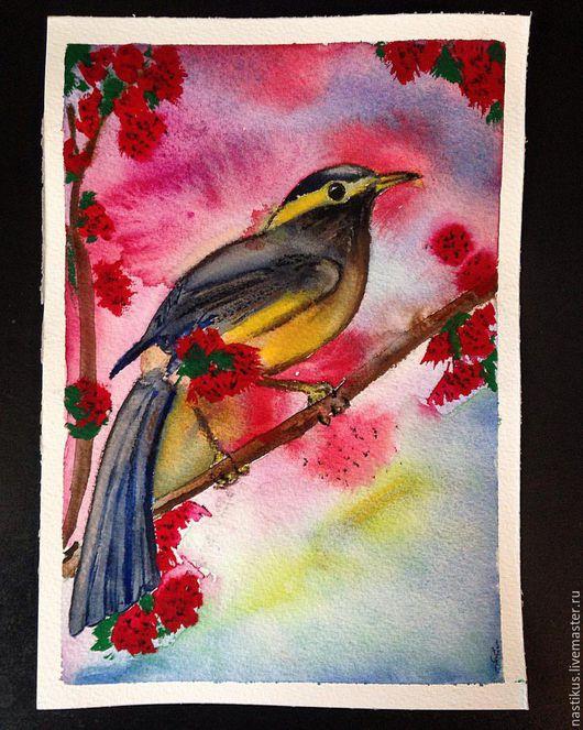 """Животные ручной работы. Ярмарка Мастеров - ручная работа. Купить Рисунок """"Птица счастья"""". Handmade. Комбинированный, птица, яркие краски"""