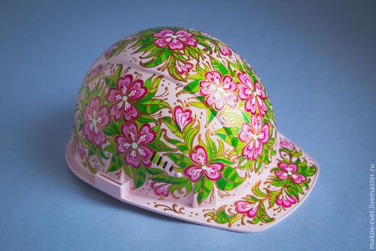 """Шапки ручной работы. Ярмарка Мастеров - ручная работа. Купить Каска строительная  """"Розовый букет"""". Handmade. Орнамент, подарок женщине"""