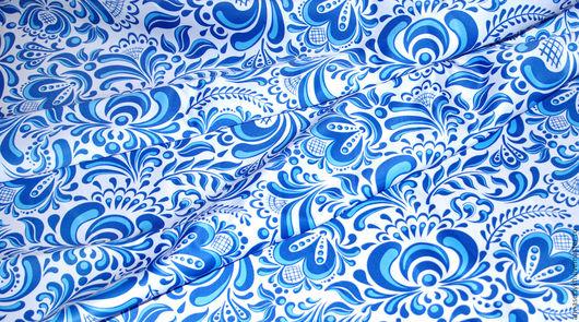"""Шитье ручной работы. Ярмарка Мастеров - ручная работа. Купить Ткань """"Гжель №5"""". Handmade. Белый, русский стиль, шармус"""