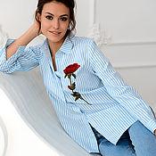 Одежда ручной работы. Ярмарка Мастеров - ручная работа Блуза в полоску с аппликацией роза. Handmade.