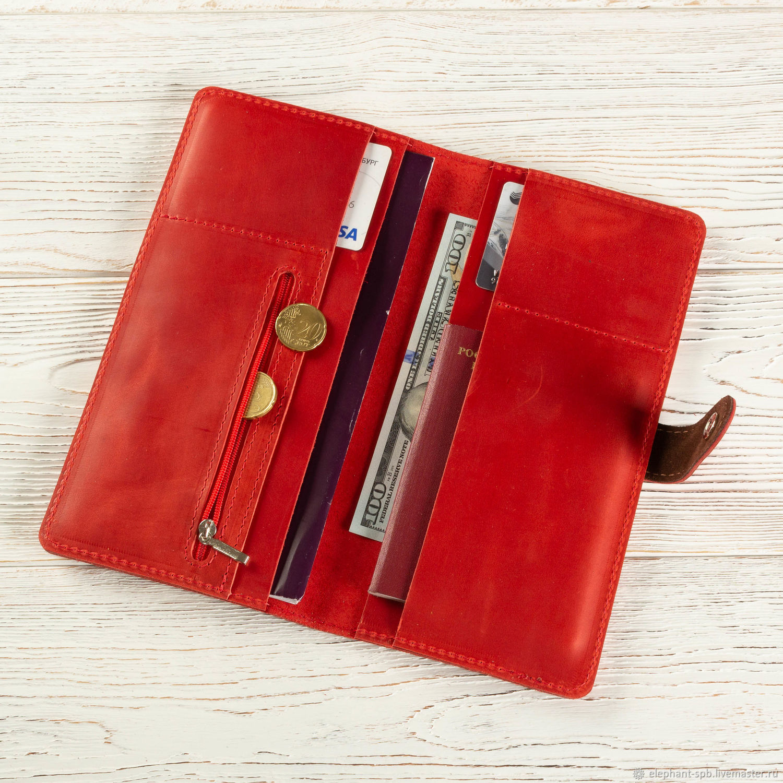 Органайзеры для сумок ручной работы. Ярмарка Мастеров - ручная работа. Купить Холдер для документов путешественника кожаный (красный винтаж). Handmade.