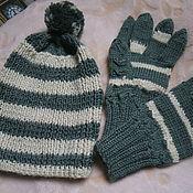 Работы для детей, ручной работы. Ярмарка Мастеров - ручная работа Комплект детский шапочка+перчатки. Handmade.