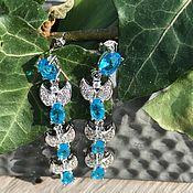 Винтаж handmade. Livemaster - original item Earrings with aquamarine