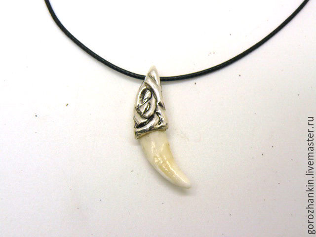 Pendant amulet Fang wolf silver UNISEX Celtic knot pattern, rose, a true Fang of the wolf. Handmade to by Fang wolf silver#pendant wolf's Fang on a cord