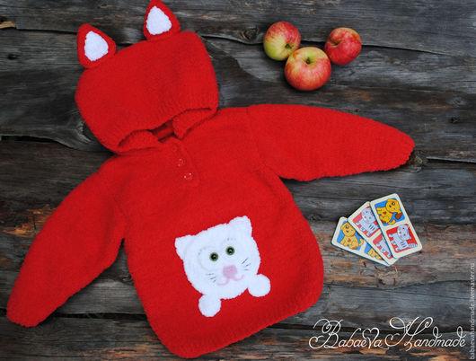 """Одежда для девочек, ручной работы. Ярмарка Мастеров - ручная работа. Купить Плюшевая кофточка """"Red Cat"""". Handmade. Ярко-красный"""