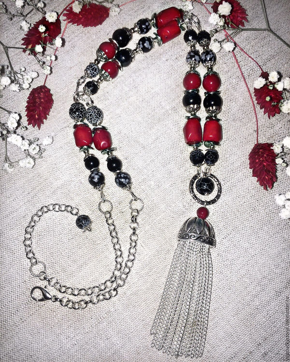 With Pendant 'Black & Red', Necklace, Tolyatti,  Фото №1