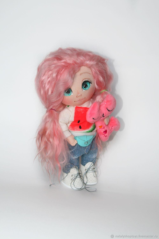Интерьерная текстильная кукла с розовыми волосами, Большеножка, Владивосток,  Фото №1
