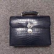 Сумки и аксессуары handmade. Livemaster - original item Men`s briefcase, made of genuine crocodile leather, in dark blue color. Handmade.