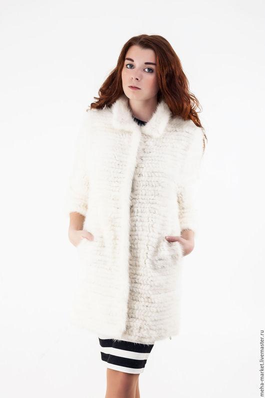 Пальто из вязаной норки «Елена» цвет Айвори