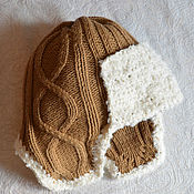 Работы для детей, handmade. Livemaster - original item Baby hat with ears, beige. Handmade.
