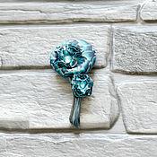 Украшения handmade. Livemaster - original item Brooch Blue flower polymer clay. Handmade.