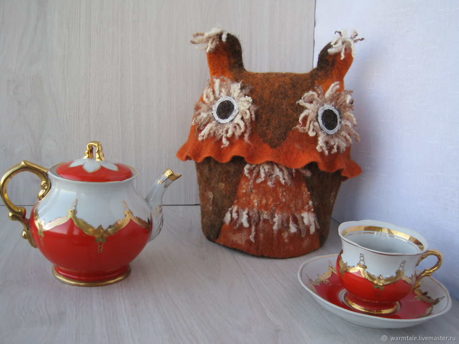 Hot-water bottles for the kettle: felted hot-water bottle for the kettle ' Owl', Teapot cover, Khmelnitsky,  Фото №1