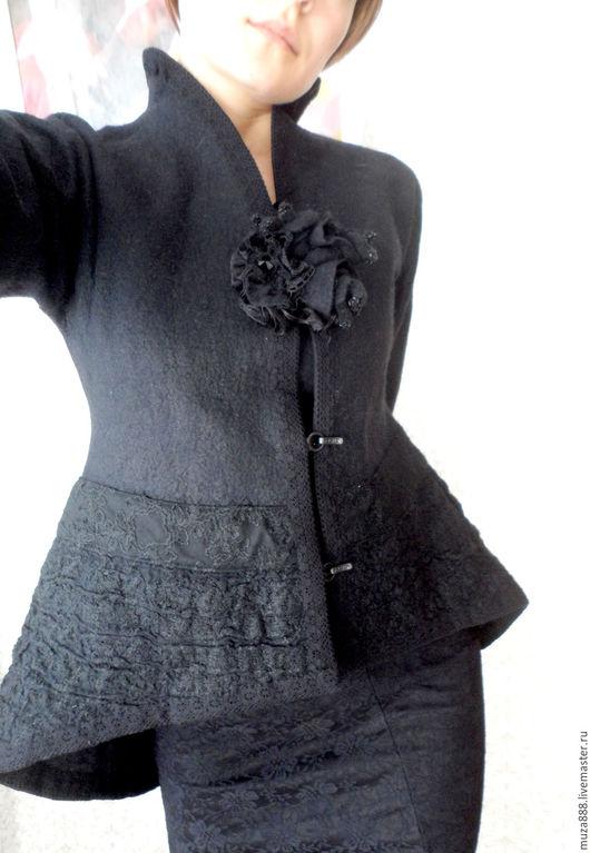 """Пиджаки, жакеты ручной работы. Ярмарка Мастеров - ручная работа. Купить Жакет """"Венецианский"""". Handmade. Черный, авторский жакет, ткань"""