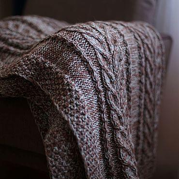 Для дома и интерьера ручной работы. Ярмарка Мастеров - ручная работа Вязаный меланжевый плед Какао со льдом. Handmade.