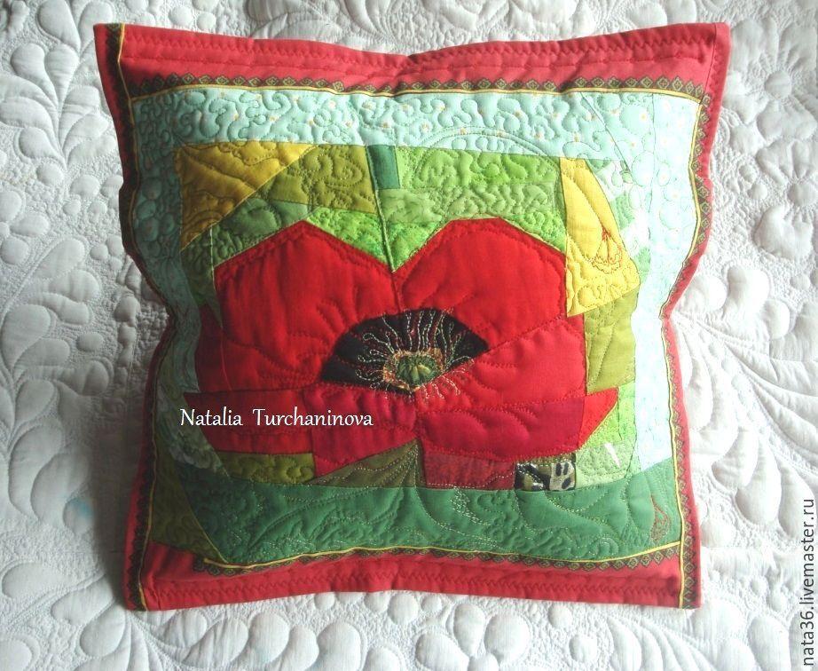 Patchwork pillow ' Poppies', Pillow, Yaroslavl,  Фото №1