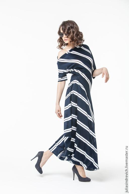 АГ_004 Платье ассиметричное с карманами т.синее с двойной белой полосой арт. 0120-55391, 100% хлопок, трикотаж, р.44, ОТ=72см, ОП=30 см.