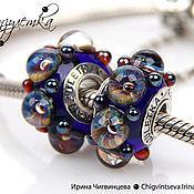 Материалы для творчества handmade. Livemaster - original item The storm - 1 bead charm lampwork - inserts 925 sterling silver. Handmade.