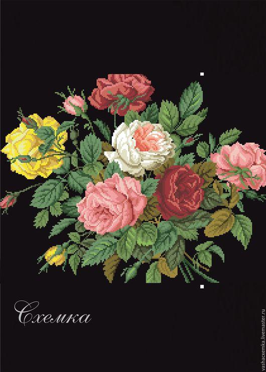 """Вышивка ручной работы. Ярмарка Мастеров - ручная работа. Купить Ретро схема """" Букет роз"""". Handmade. Комбинированный"""