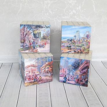 Для дома и интерьера ручной работы. Ярмарка Мастеров - ручная работа Интерьерные кубики Четыре города, одна страна. Handmade.