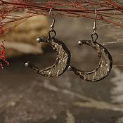 Украшения handmade. Livemaster - original item Moon Earrings Made of Textured translucent Glass (e-003-13). Handmade.