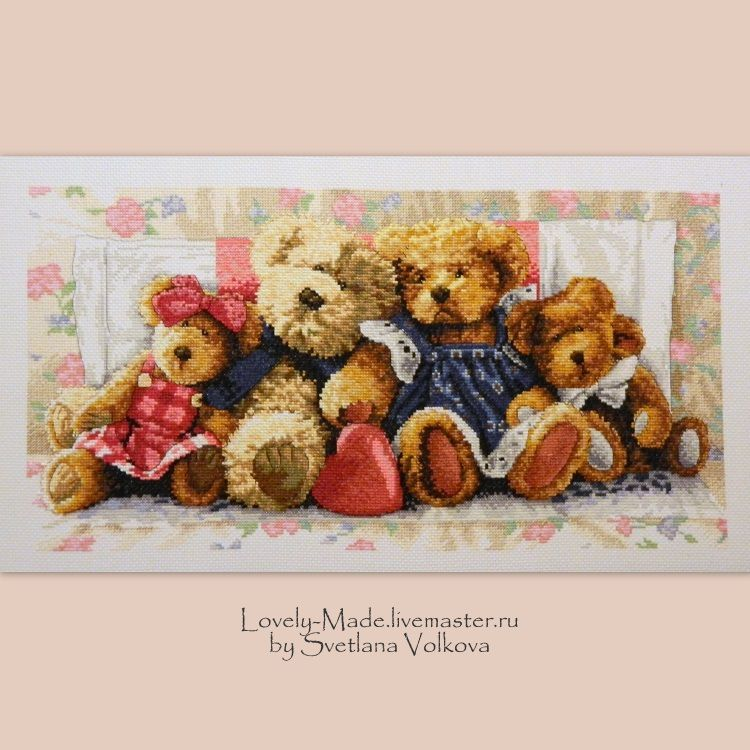 Happy family. Embroidered pattern. Bears-bears. Hand embroidery, Pictures, Chelyabinsk,  Фото №1