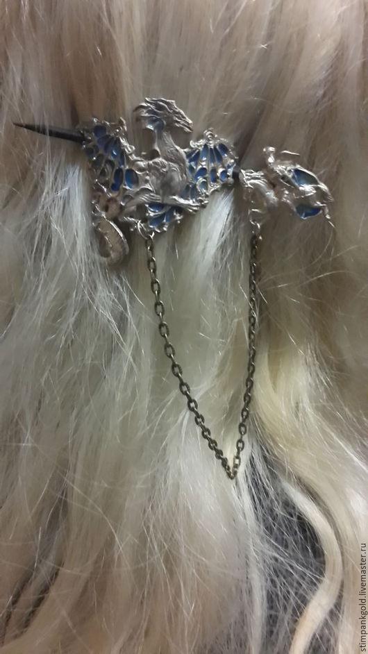 Банданы ручной работы. Ярмарка Мастеров - ручная работа. Купить заколка для волос дракон удачи. Handmade. Серебряный, латунь с серебрением