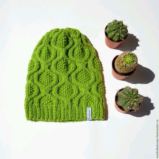 """Шапки ручной работы. Ярмарка Мастеров - ручная работа. Купить Стильная шапка """"Яблоко"""" зеленого цвета для девушек.. Handmade. Шапка"""