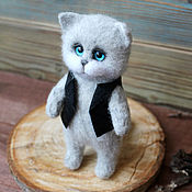 Куклы и игрушки handmade. Livemaster - original item Grey cat in a vest. Handmade.