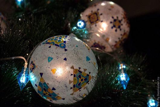 Новый год 2017 ручной работы. Ярмарка Мастеров - ручная работа. Купить Гирлянда с 3-мя шарами. Handmade. Шарики