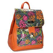 """Сумки и аксессуары ручной работы. Ярмарка Мастеров - ручная работа Рюкзак кожаный """"Цветущий"""", кожаный рюкзак, рыжий. Handmade."""