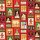 Ткань хлопок `Рождественские марки` (красная)