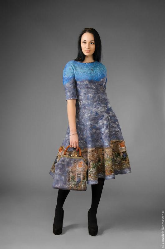 """Платья ручной работы. Ярмарка Мастеров - ручная работа. Купить платья авторское """"Утро"""". Handmade. Серый, Мокрое валяние"""