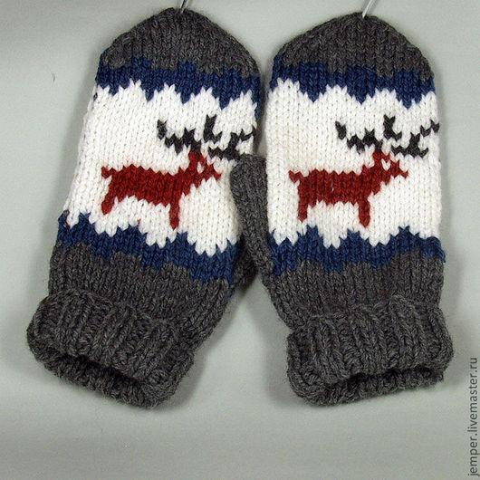 Варежки, митенки, перчатки ручной работы. Ярмарка Мастеров - ручная работа. Купить Варежки с оленями. Handmade. Рисунок
