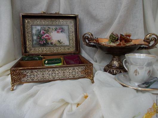 """Кухня ручной работы. Ярмарка Мастеров - ручная работа. Купить Чайная шкатулка """"Розовый букет"""". Handmade. Коричневый, подарок девушке"""