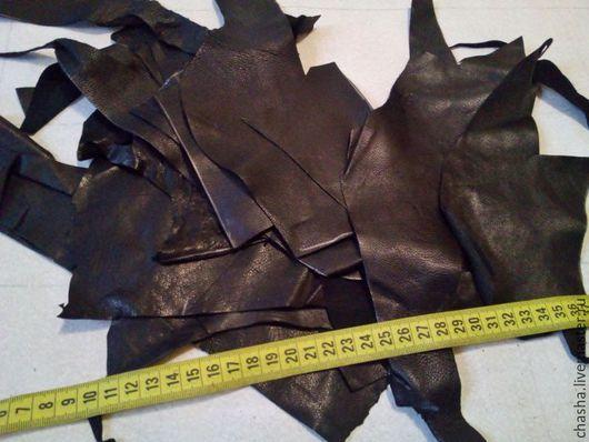 Шитье ручной работы. Ярмарка Мастеров - ручная работа. Купить Кусочки (обрезки) тонкой одежной кожи в наборах - черная. Handmade.