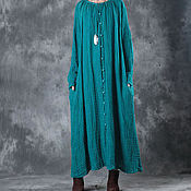 Одежда handmade. Livemaster - original item Spring linen dress large size women`s clothing / lake blue. Handmade.