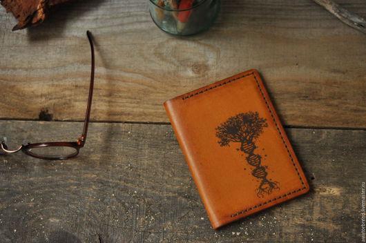Обложки ручной работы. Ярмарка Мастеров - ручная работа. Купить Обложка для паспорта ДНК. Handmade. Оранжевый, паспортная обложка