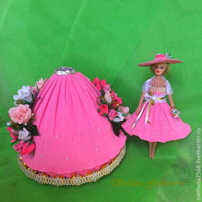 Как сделать из гофрированной бумаги платье для куклы