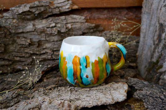 Кружки и чашки ручной работы. Ярмарка Мастеров - ручная работа. Купить Чашка акварельная. Handmade. Эко, чашка для чая, волны
