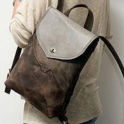 Сумки и аксессуары handmade. Livemaster - original item Brown backpack, genuine leather, crazy horse.. Handmade.