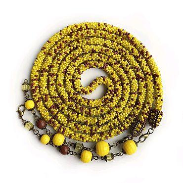 Decorations handmade. Livemaster - original item Lariat beads yellow