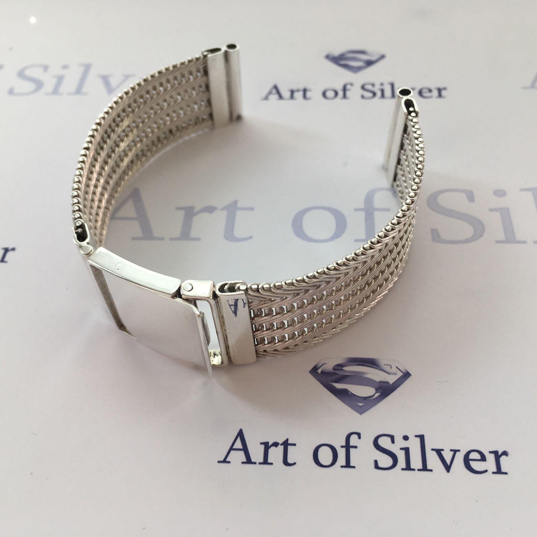 Купить Серебряный браслет Украшения для мужчин, ручной работы. Серебряный  браслет для часов. 2cfedbf242c