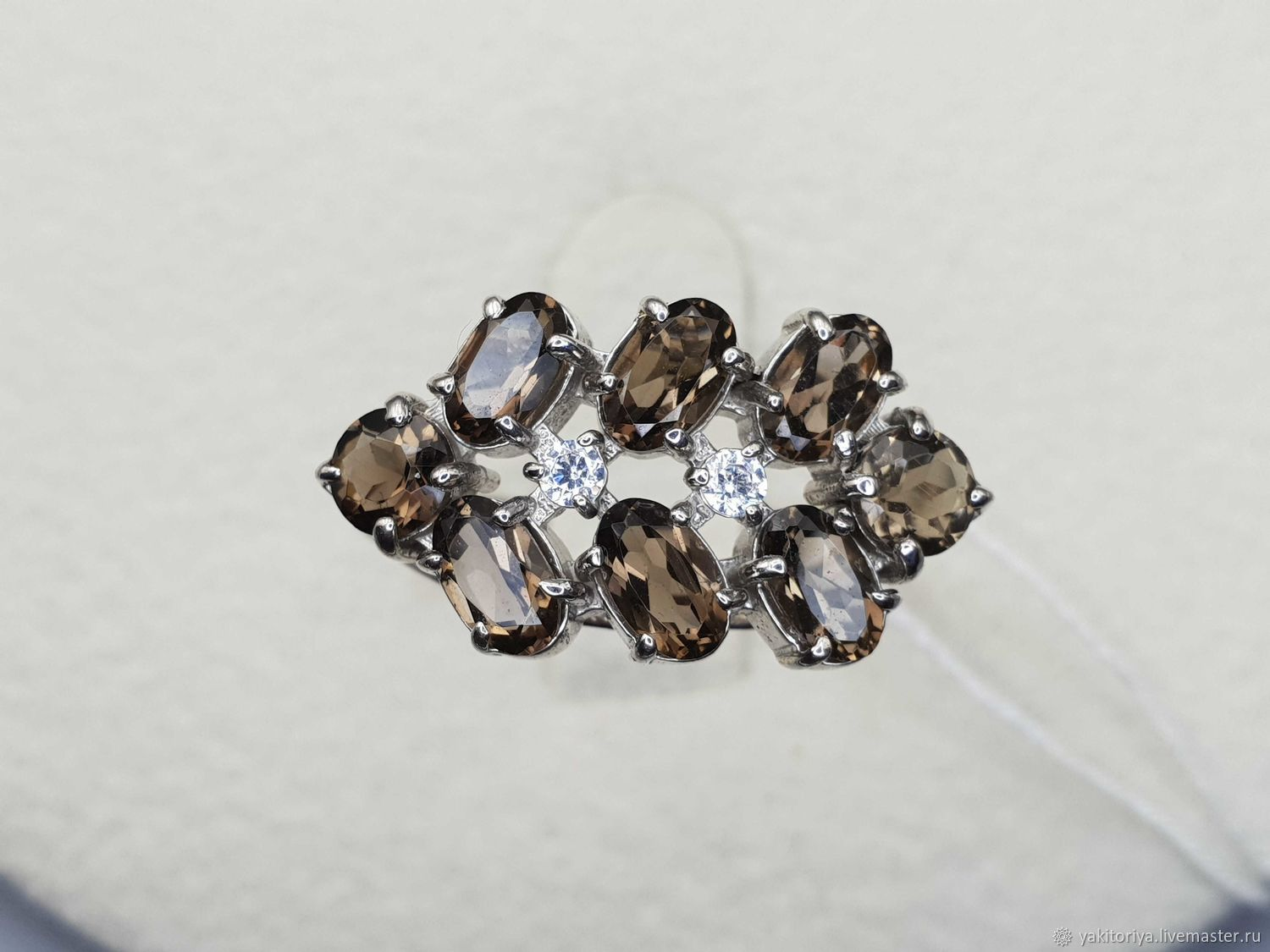 Silver ring rauchtopas and cubic Zirconia, Rings, Moscow,  Фото №1
